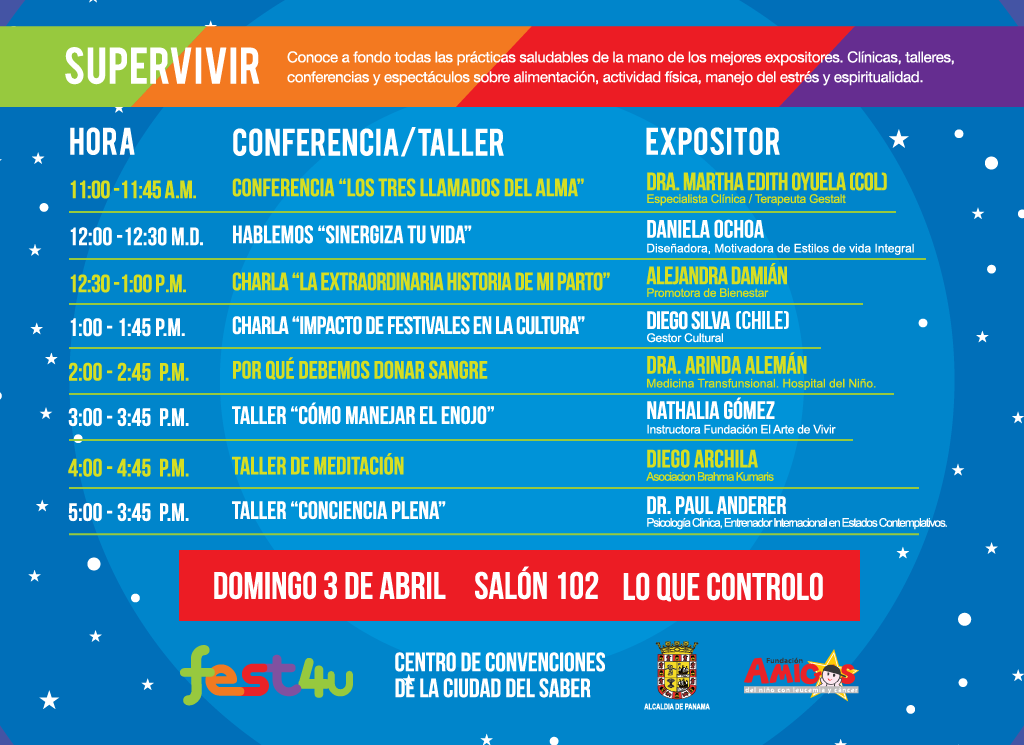 SUPERVIVIR Lo que controlo - Domingo - Lista de conferencias y talleres