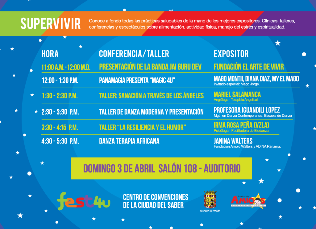 SUPERVIVIR Auditorio - Domingo - Lista de conferencias y talleres