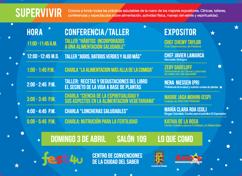 SUPERVIVIR Lo que como - - Domingo - Lista de conferencias y talleres