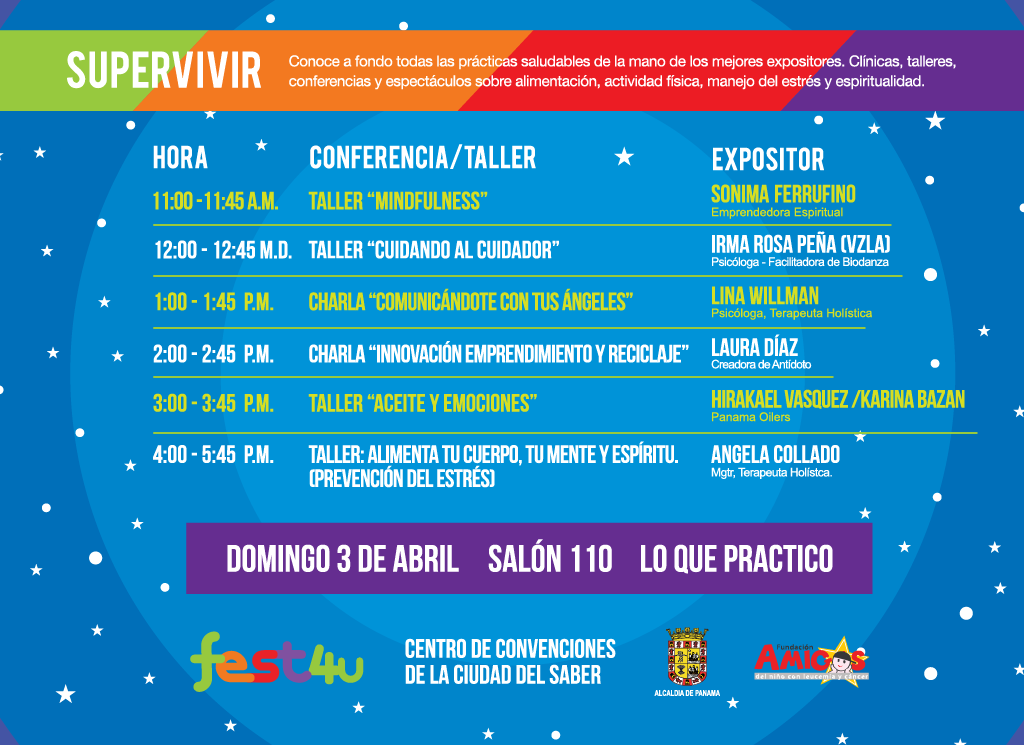 SUPERVIVIR Lo que practico - - Domingo - Lista de conferencias y talleres