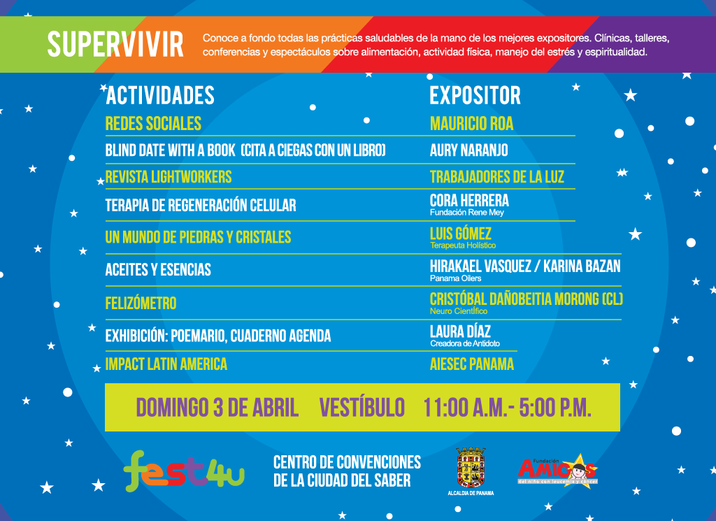 SUPERVIVIR Vestíbulo - - Domingo - Lista de conferencias y talleres