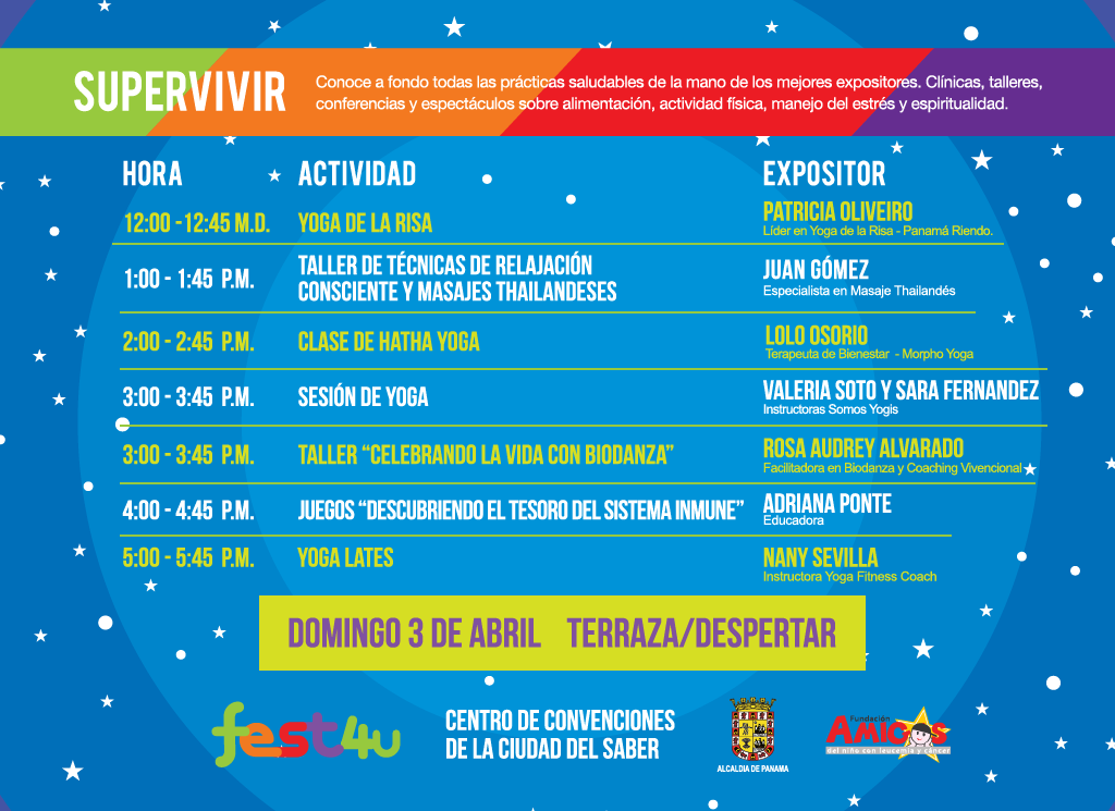 SUPERVIVIR Despertar - - Domingo - Lista de conferencias y talleres