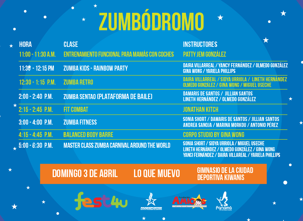 ZUMBODROMO - Calendario de Zumba - Domingo